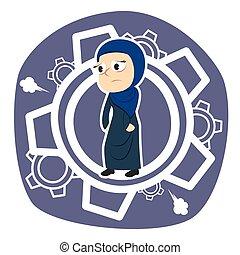 Tired arabian businesswoman inside gears