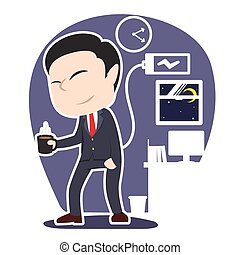 Tired asian businessman holding cup of coffee