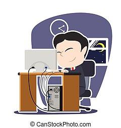 Tired asian businessman working illustration design