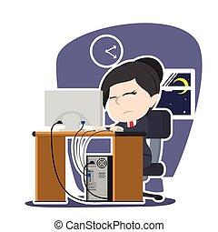 Tired Asian businesswoman working illustration design