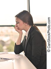 tired business woman at the office - Portrait of tired young...
