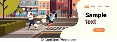 tired business woman running crosswalk pushing man with coffee cup city street road buildings background horizontal flat