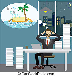 Tired businessman dreams of an ocean island