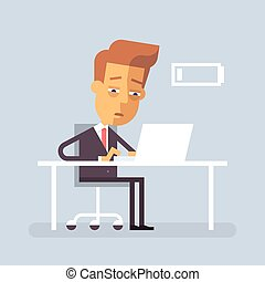 Tired businessman is sitting at the desk. Vector.