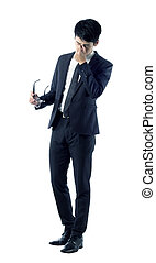 tired businessman portrait - Portrait of tired young...
