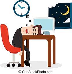 Tired businessman sleeping at work