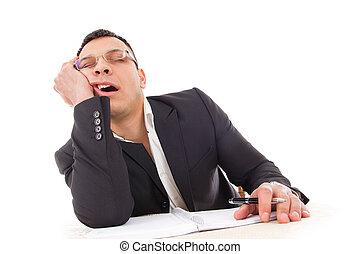 tired businessman sleeping at work yawning - tired...