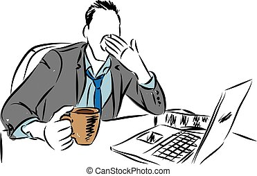tired businessman vector illustration