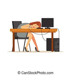 Tired businesswoman sleeping at workplace on laptop keyboard, exhausted office worker relaxing vector Illustration