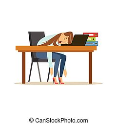Tired businesswoman sleeping on the desk with laptop, relaxing person vector Illustration