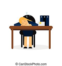 Tired businesswoman sleeping on the office desk, exhausted worker relaxing cartoon vector illustration
