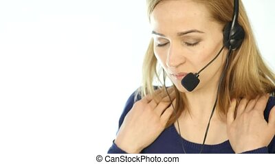 tired call center representative talking on helpline, Headset telemarketing female call center agent at work. 4K
