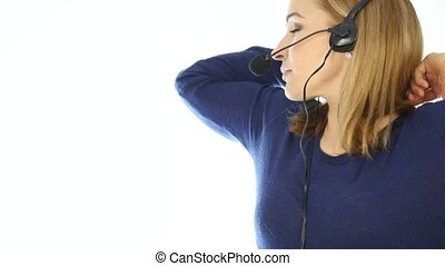 tired call center representative talking on helpline,...