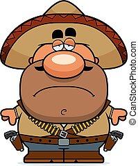 A cartoon illustration of a bandito looking tired.