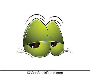 Tired Cartoon Eye - Art Design of Tired Green Cartoon Animal...