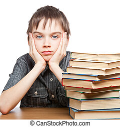 Tired child with stack of books