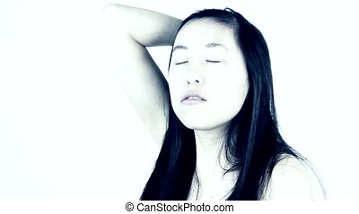 Tired Chinese American woman
