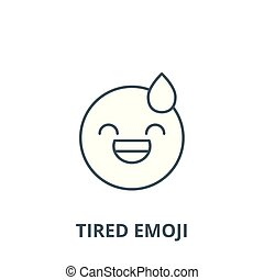 Tired emoji vector line icon, linear concept, outline sign, symbol