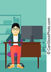 Tired employee sitting in office. - An asian woman sitting...