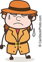 Tired Face with Cold Sweat - Female Explorer Scientist Cartoon Vector