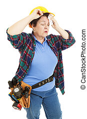 Tired Female Construction Worker