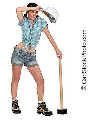 Tired female laborer