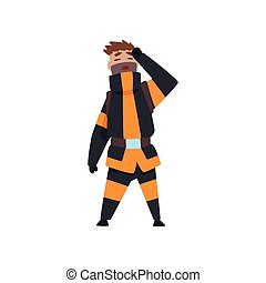 Tired fireman, firefighter character in uniform at work vector Illustration on a white background