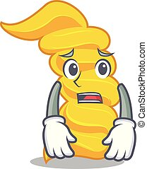 Tired fusilli pasta mascot cartoon