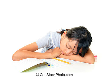 Tired girl sleeping in her room