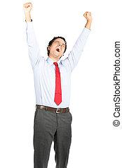 Tired Hispanic Office Worker Yawning Stretching
