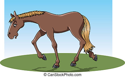Cartoon-style illustration: a very tired brown horse walking on the grass