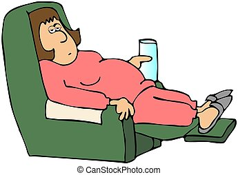 Tired Housewife - This illustration depicts a tired woman in...