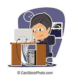 Tired indian businessman working illustration design