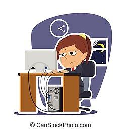 Tired indian businesswoman working illustration design
