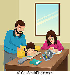 Tired Kids Studying with Their Father at Home Illustration