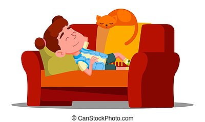 Tired Little Girl Sleeping On The Couch Next To Sleeping Cat Vector. Isolated Illustration