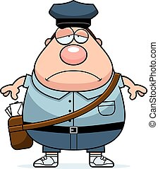 Tired Mailman - A cartoon illustration of a mailman looking ...