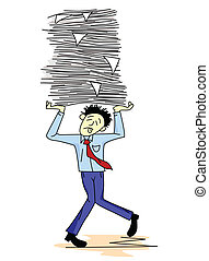Tired man carrying paper work