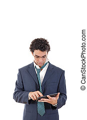 tired man in suit uses tablet