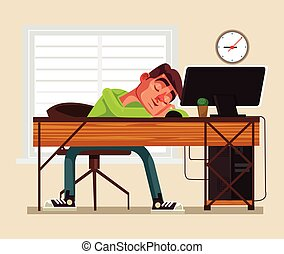 Tired man office worker character sleeping on workplace. Vector flat cartoon illustration