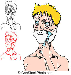 Tired Man Shaving - An image of a tired man shaving his...
