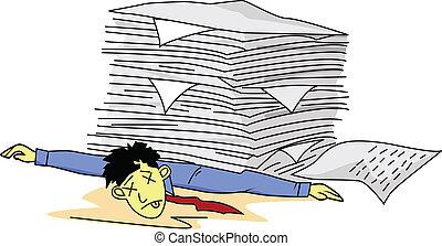 Tired man under paperwork