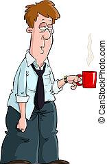 Tired man with a mug vector illustration