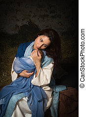 Tired Mother in nativity scene