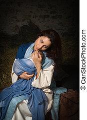 Tired Mother in nativity scene