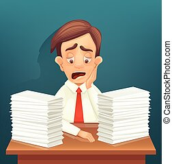 Tired office worker character. Lot of paperwork. Vector flat cartoon illustration