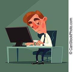 Tired office worker man character. Vector flat cartoon illustration