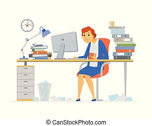 Tired office worker - modern cartoon people characters...