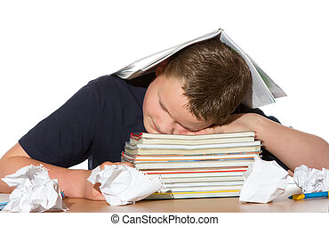 Tired out by studying for exams
