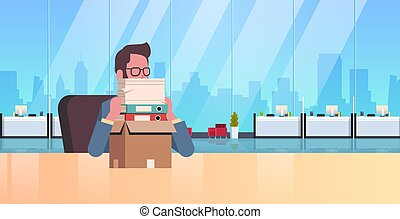 tired overworked businessman sitting workplace desk with...